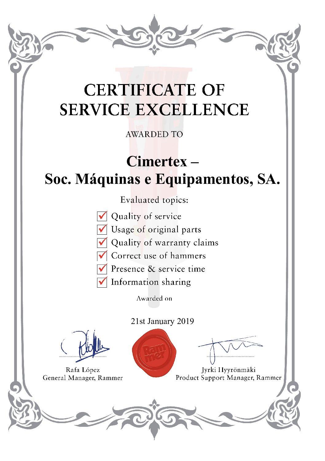 Rammer Atribui Certificado de Excelência dos Serviços à Cimertex